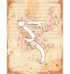 Vintage scroll with floral vector