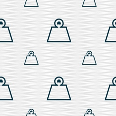 Weight icon sign seamless pattern with geometric vector