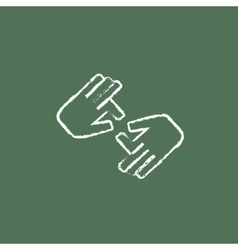 Finger language icon drawn in chalk vector