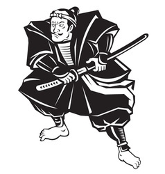 Japanese samurai warrior sword vector