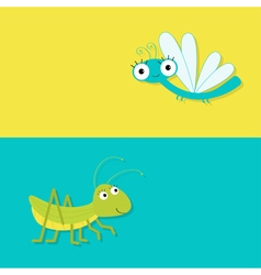 Grasshopper and dragonfly cute cartoon character vector