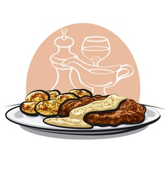 Baked pork vector