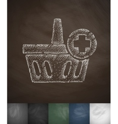 Add to basket icon hand drawn vector
