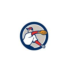 Baseball pitcher throw ball circle cartoon vector