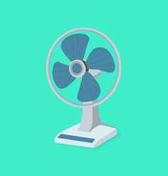 blue table fan flat design with green background vector image