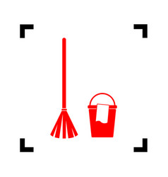 Broom and bucket sign red icon inside vector