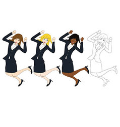 Business woman jumping vector