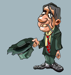 cartoon homeless man in suit with tie asks vector image vector image