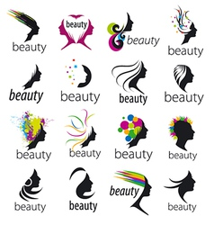 Collection of logos beautiful female face vector