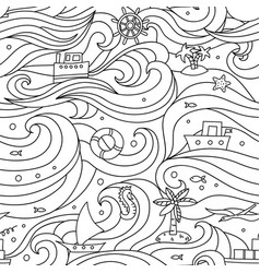 crazy seamless pattern with sea elements- vector image