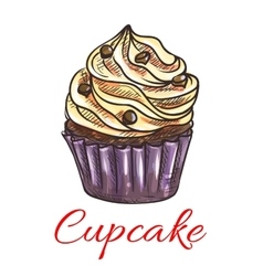 Cupcake with cream and chocolate sketch vector