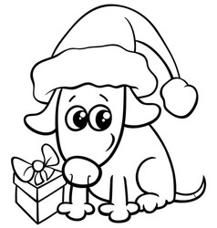 Cute dog on christmas coloring book vector