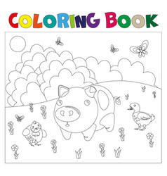 farm animals for coloring book vector image vector image