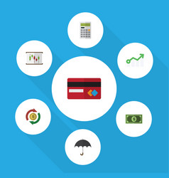 Flat icon finance set of interchange parasol vector