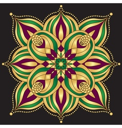Gold and purple and green vintage pattern vector image