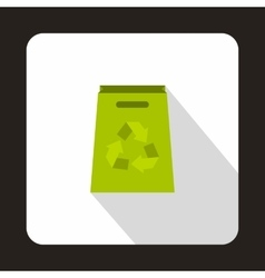 Green paper bag with recycling symbol icon vector