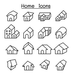 home house icon set in thin line style vector image