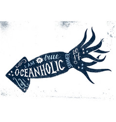 i am a true oceanholic summer 2017 lettering vector image