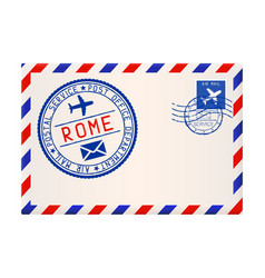 International air mail envelope from rome italy vector