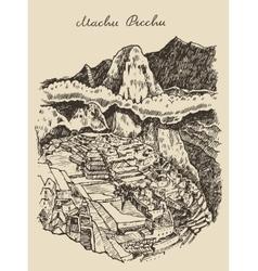 Machu picchu landscape Peru hand drawn sketch vector image