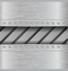 Metal background with stripes and rivets vector