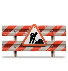 Old Barrier with Sign vector image vector image