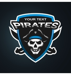 Pirate skull emblem vector
