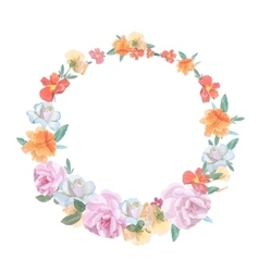 Retro round frame from roses painted in vector image