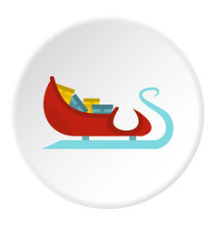 Santa claus sleigh with gifts icon circle vector