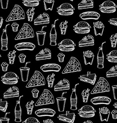 Seamless pattern background fast food vector image vector image
