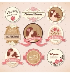 Set of beauty labels vector