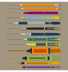 Set of Pencils Pens and Markers vector image