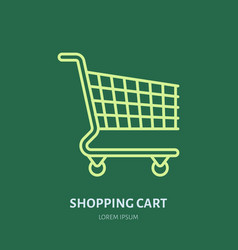 shopping cart flat line icons retail store vector image vector image