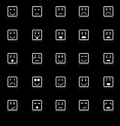 Square face icons with reflect on black background vector