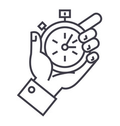 time management stopwatch in hand line vector image