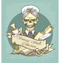 Victorian era skull label vector