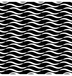 Wavy line black seamless pattern vector image vector image