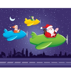 Santa and elf in aeroplane vector