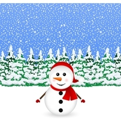 Snowman in snowy winter christmas forest vector