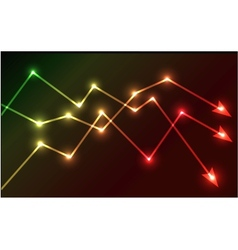 Glowing chart arrows vector