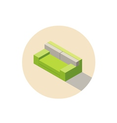 Isometric green sofa seat couch 3d flat interior vector