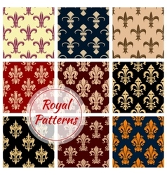 Fleur-de-lys french royal seamless pattern set vector image