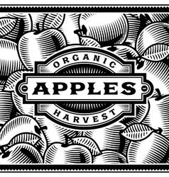 Retro apple harvest label black and white vector