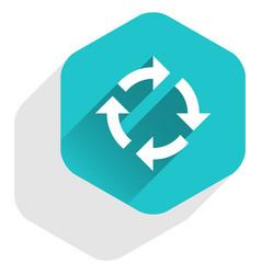 Flat arrow sign rotation icon hexagon button vector