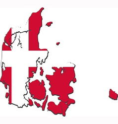 Map of denmark with national flag vector