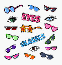 Eyeglasses doodle with sunglasses and eyes vector