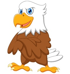 Cute eagle cartoon posing vector image