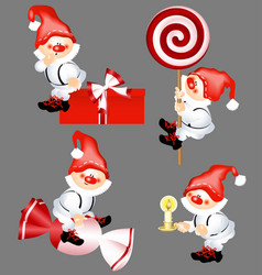 collection of christmas santa claus stickers for vector image