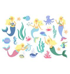 underwater life collection mermaid sea animals vector image