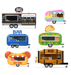 Street fast food truck set in flat style vector